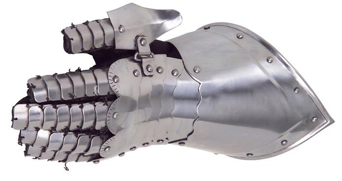 Rüstungsteile Tragbarer Fäusting links Innenhandschuh aus Leder