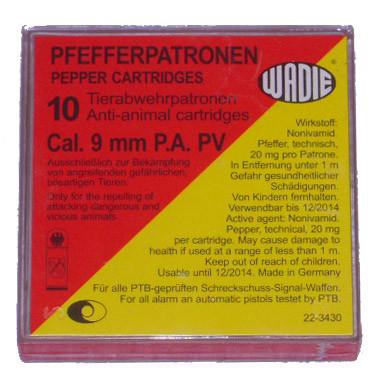 Wadie Kaliber 9 mm PAK Pfefferpatronen