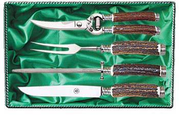 Messer, Gabel, Stahl und Schere, Rehwappen Tranchierbesteck Seri