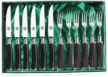 6 Messer und 6 Gabeln, Steakbesteck Serie 4