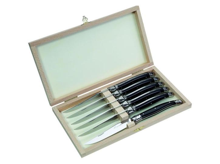 Laguiole Steakmesser-Satz, Kunststoff Griffschalen, schwarz, Holzbox mit 6 Messern