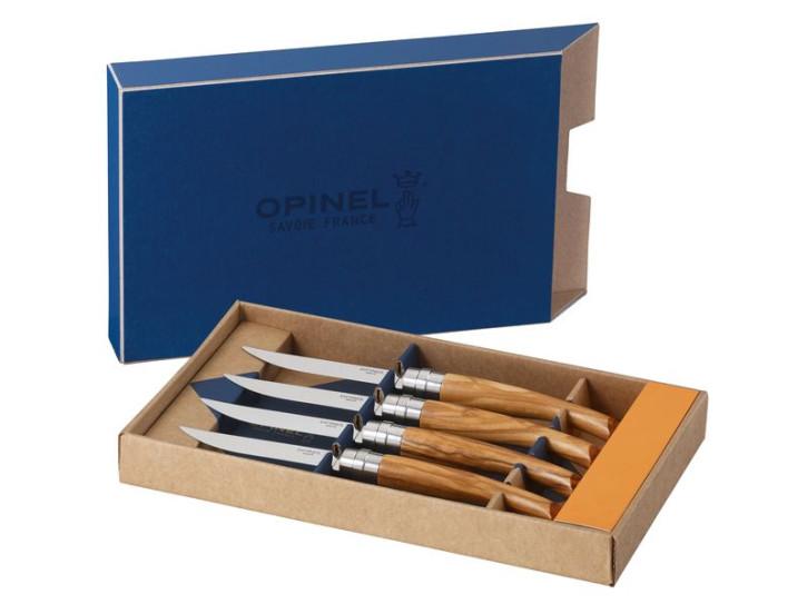 Opinel-Steakmesser, 4er Set, Olivenholz