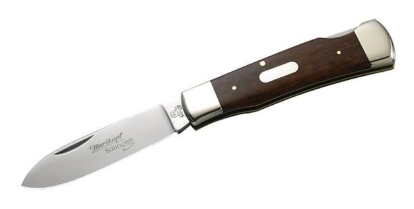 Hartkopf-Taschenmesser, 1.4110-Stahl, Schlangenholz, Neusilberba