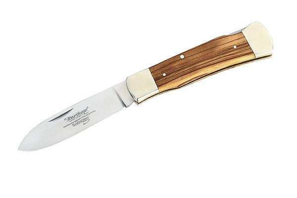 Hartkopf Taschenmesser, Stahl 1.4110, Olivenholz, Neusilber