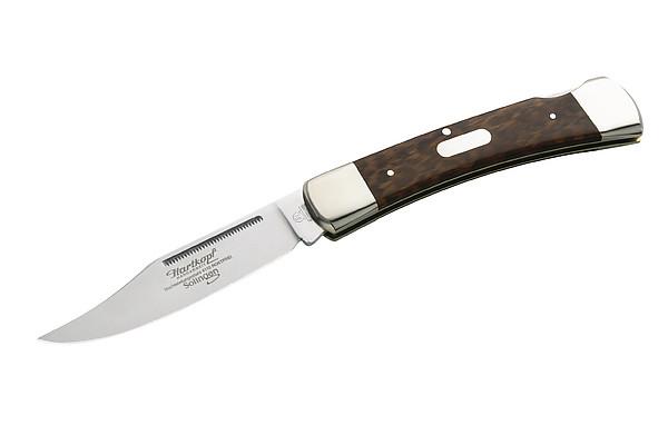 Hartkopf-Taschenmesser, Stahl 1.4110, Schlangenholz, Neusilberba