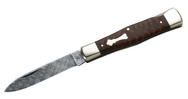 Hartkopf-Taschenmesser, 300 Lagen Rosendamast von Balbach, Kling