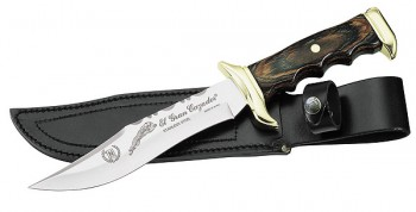 Nieto Messer, Klinge 18 cm, Pakkaholz, Messingbeschläge