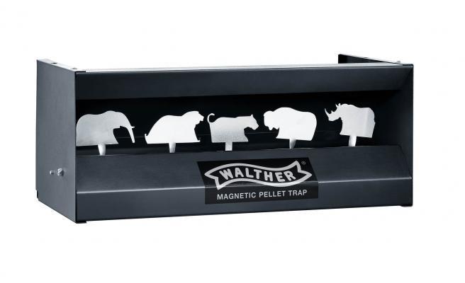 Walther Big Five Kugelfangkasten schwarz, mit 5 Stahl-Pendeltieren