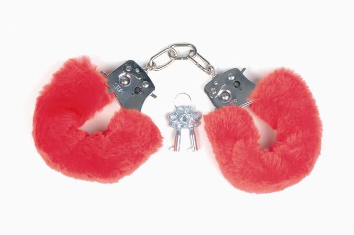 Handschellen mit rotem Plüsch