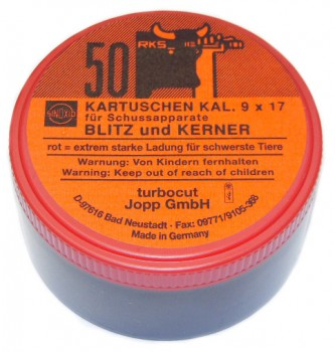 Kartuschen Kaliber 9x17 für Viehbetäubungsapparate Rot