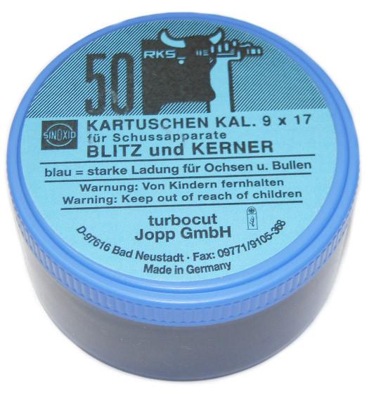 Kartuschen Kaliber 9x17 für Viehbetäubungsapparate Blau