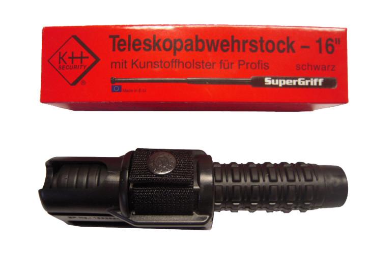 Teleskopabwehrstock, schwarz, 39 cm lang
