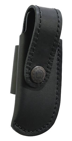 Schwarzes Lederetui, für Messer mit 10 cm Heftlänge, quer zu tra