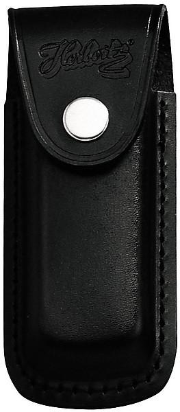 Messer-Etui, schwarzes Leder, eingeschnitt. Gürtelschlaufe, für