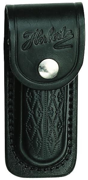 Herbertz Messer-Etui, schwarzes Leder mit Prägemuster, Gürtelsch