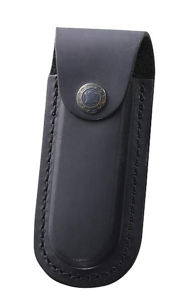 Schwarzes Lederetui, für Messer mit 11 cm Heftlänge, Gürtelschla