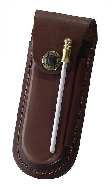 Braunes Lederetui, für Messer mit 9 cm Heftlänge, längs und quer