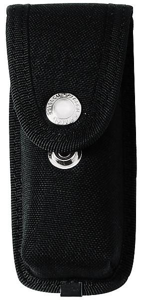 Messer-Etui aus Cordura, schwarz, 2 Druckknöpfe, mit Gürtelschla
