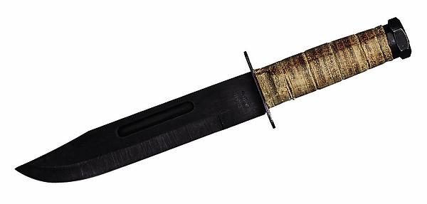 Herbertz Bowiemesser, Klinge 18 cm, brüniert, Ledergriff, Scheid