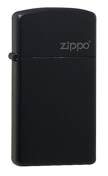 Zippo-Benzinfeuerzeug. In schwarzer, schlanker Ausführung, Zippo