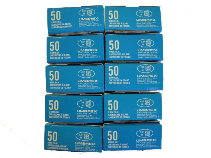 500 Schuss Platzpatronen 9 mm P.A.K. Hausmarke