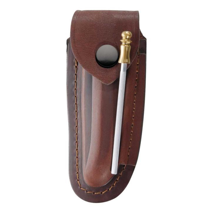 Braunes Leder-Etui, für Laguiole-Messer mit 12 cm Heftlänge, län