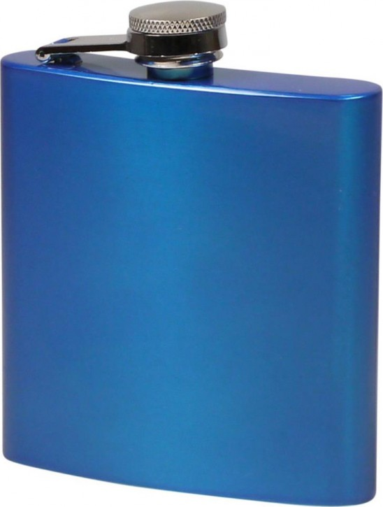 Flachmann Edelstahl blau metallic glänzend 6oz/180ml