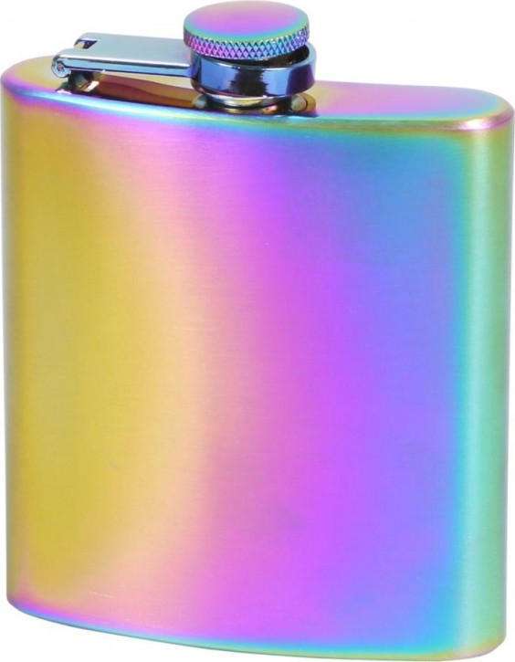 Flachmann Edelstahl rainbow poliert 6oz/180ml mit Bügel