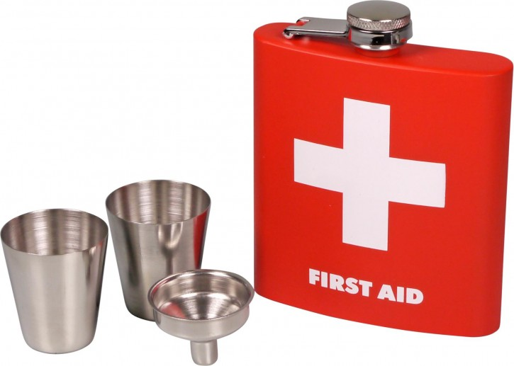 "Flachmann-Set Edelstahl rot ""Erste Hilfe"" 6oz/180ml 2 Trinkbecher, 1 Trichter"