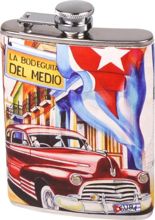 """Flachmann Edelstahl / Lederoptik Design """"Cuba"""" 7oz/210ml"""