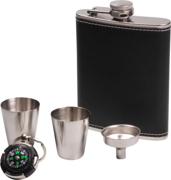 Flachmann-Set chrom Lederoptik schwarz 7oz/210ml 2 Trinkbecher, 1 Trichter, 1 Kompass-Schlüsselanhänger