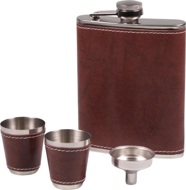 Flachmann-Set chrom Lederoptik braun 7oz/210ml 2 Trinkbecher, 1 Trichter