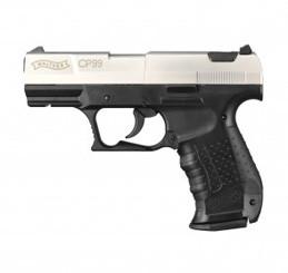 CP99 vernickelt, mit schwarzem Polymer-Griffstück CO 2 Pistole