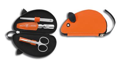 Baby Reißverschluss-Etui, 3-tlg., orange, Maus-Form