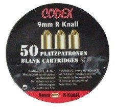 Platzpatronen Codex Kaliber 9mm R / .380, 50 Stk.