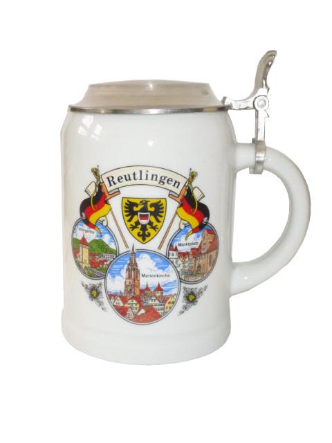 """Bierkrug mit Deckel 0,5 L """"Reutlingen"""""""