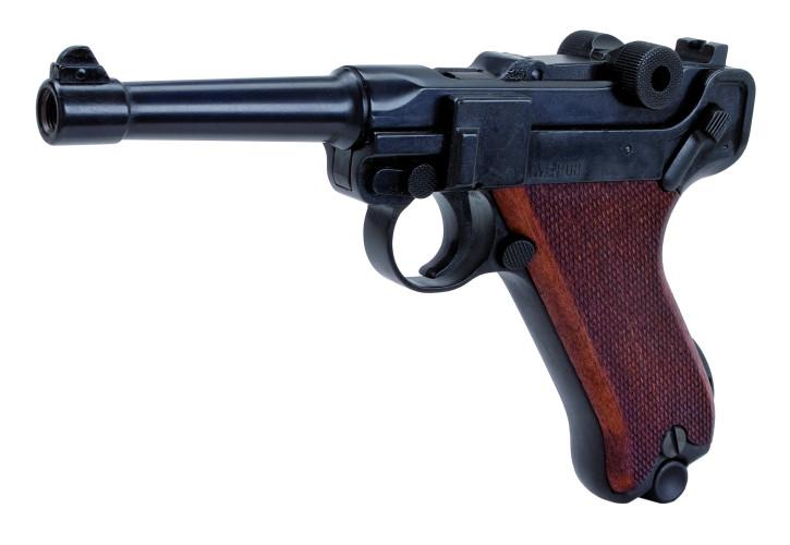 Melcher P08 brüniert, Holzgriff Signalpistole