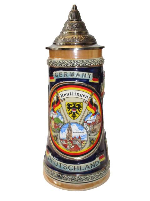 """Reliefseidel 0,5 L mit Spitzdeckel """"Reutlingen"""""""