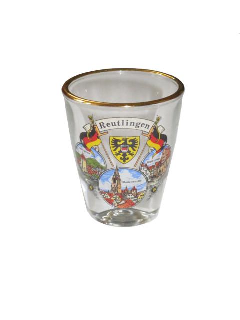 "Schnapsglas mit Goldrand ""Reutlingen"""