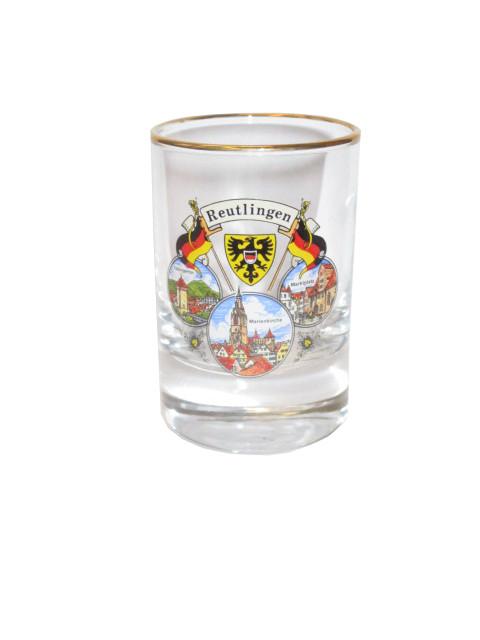 "Schnapsglas ""Side"" mit Goldrand ""Reutlingen"""