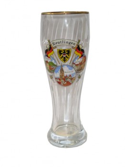 "Weizenglas mit Goldrand ""Reutlingen"" 0,5L"