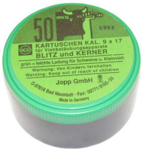 Kartuschen Kaliber 9x17 für Viehbetäubungsapparate Grün