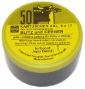 Kartuschen Kaliber 9x17 für Viehbetäubungsapparate Gelb