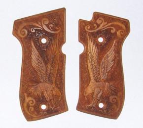 Holzgriffschalen mit Adler und Arabesken, passend für HW94