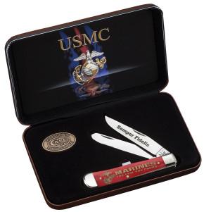 Case SS USMC - Dark Red Bone Trapper Gift Set