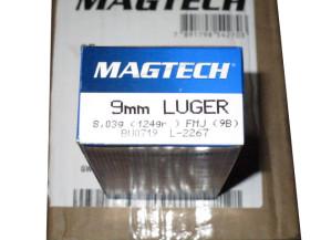20 Schachteln Pistolenpatronen Magtech Kaliber 9mm Luger FMJ 8,03 g / 124 gr